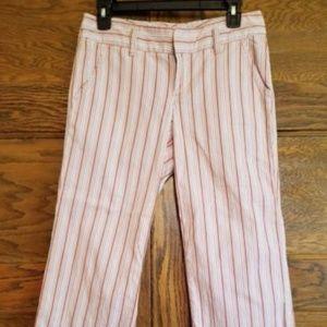 Women's Pink Striped Capris Cropped
